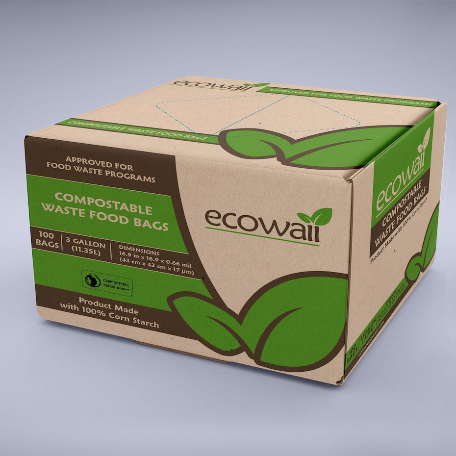 cardboard box with green and brown labeling