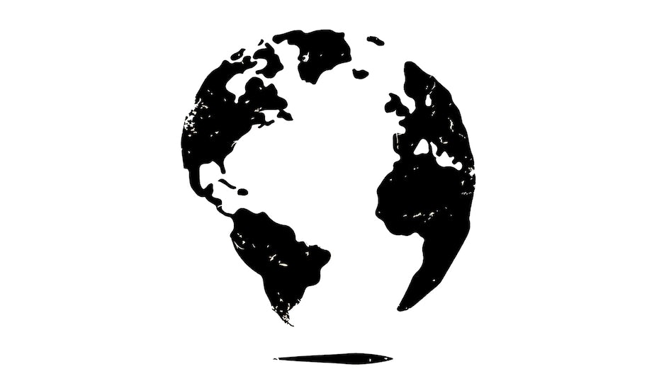 black and white globe illustration by inescborges
