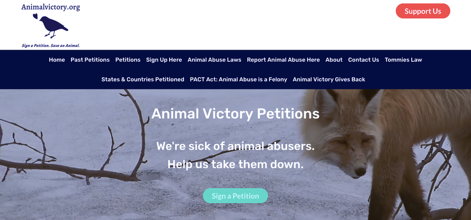 Screenshot AnimalVictory.org