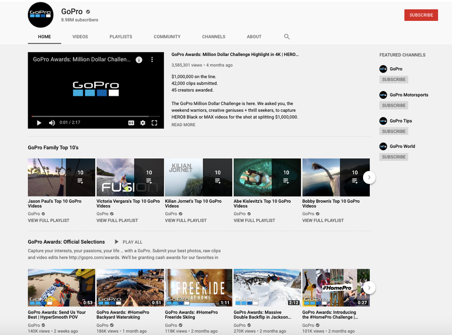 A screenshot of GoPro's YouTube channel