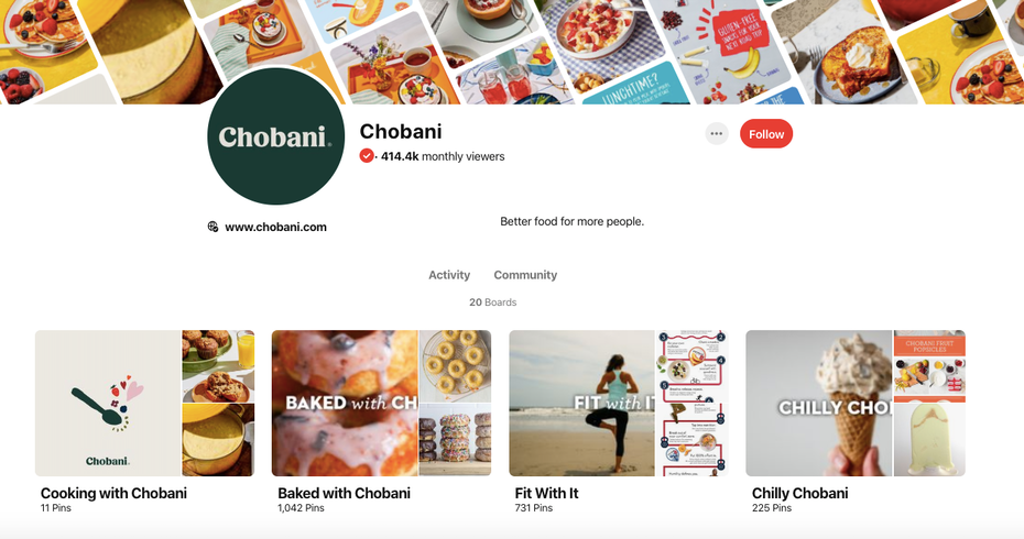 A screenshot of Chobani's Pinterest page