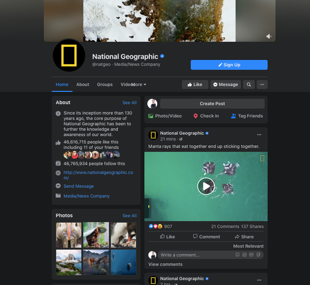 A screenshot of National Geographic's Facebook