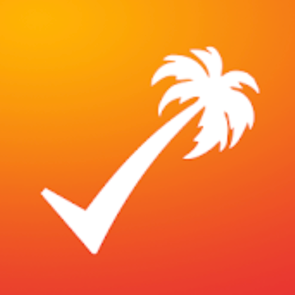 white checkmark that terminates as a palm tree against an orange gradient