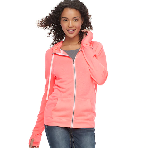 young woman wearing a pink zip hoodie