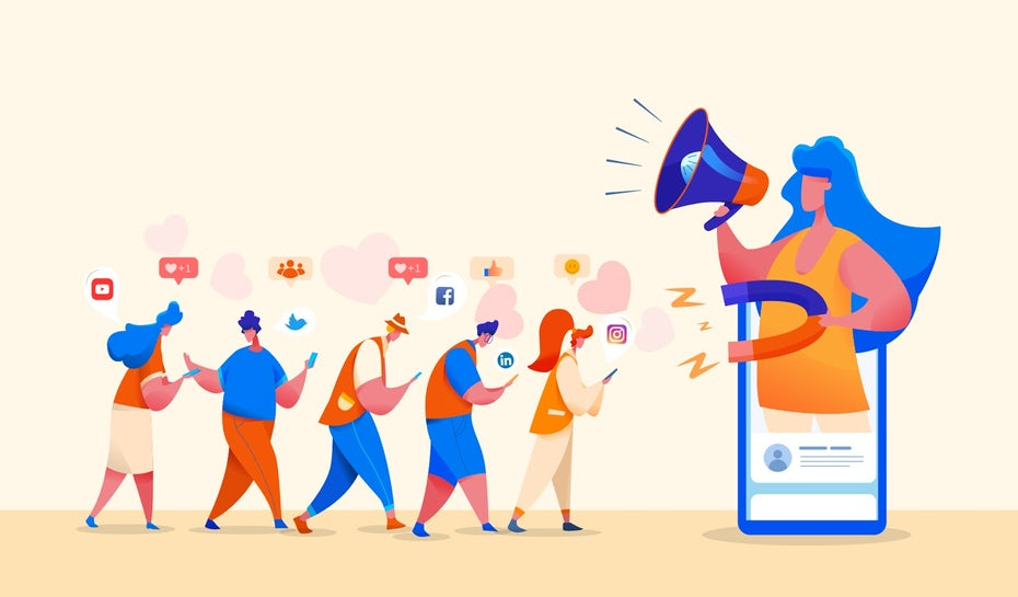 A flat design illustration showing people drawn to social media with a magnet