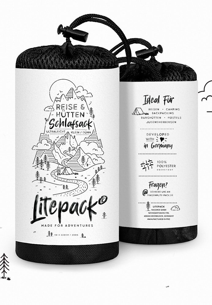white and black line drawing product label for a sleeping bag