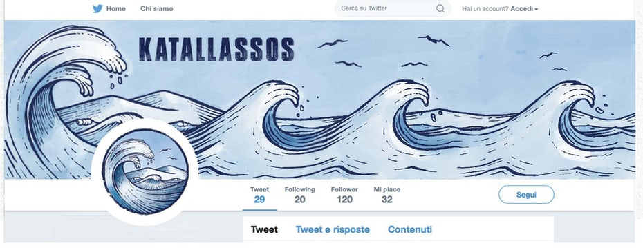 Profile picture and cover image design showing an illustrated ocean