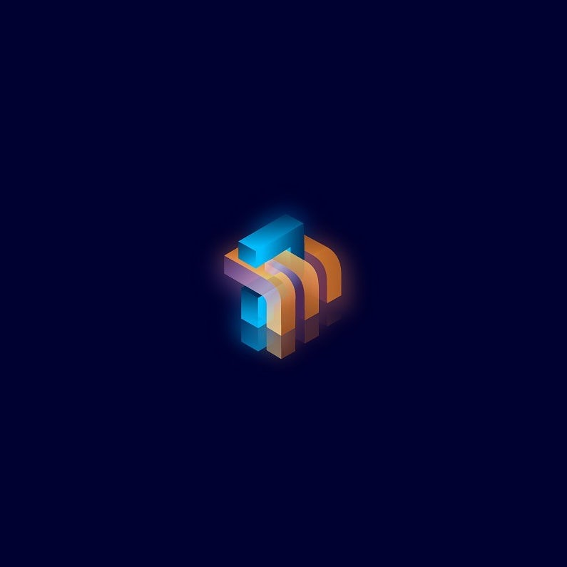 transparent gradient 3d logo design