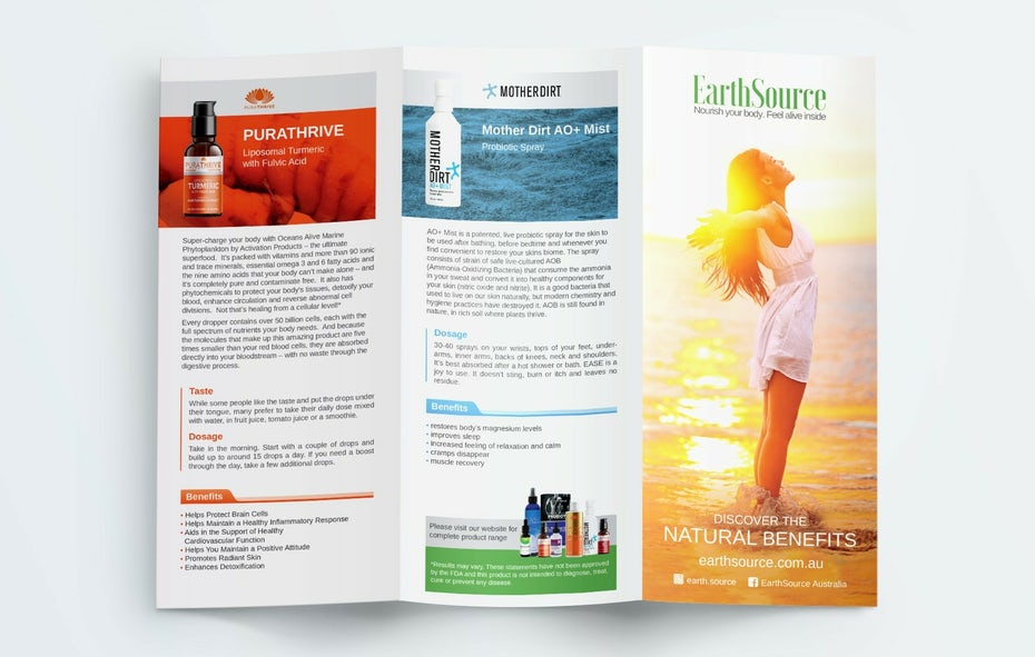 colorful brochure showing different supplement products and their benefits
