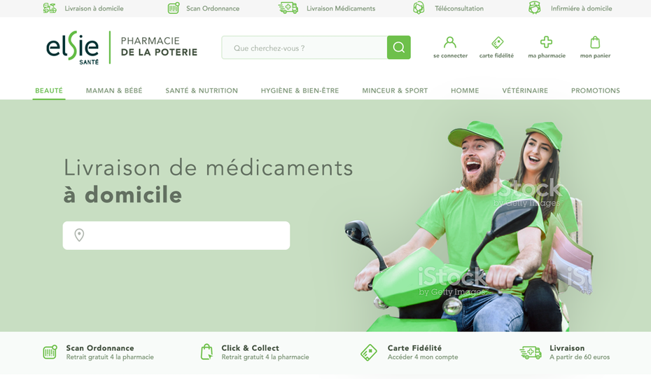 green and white online pharmacy website design