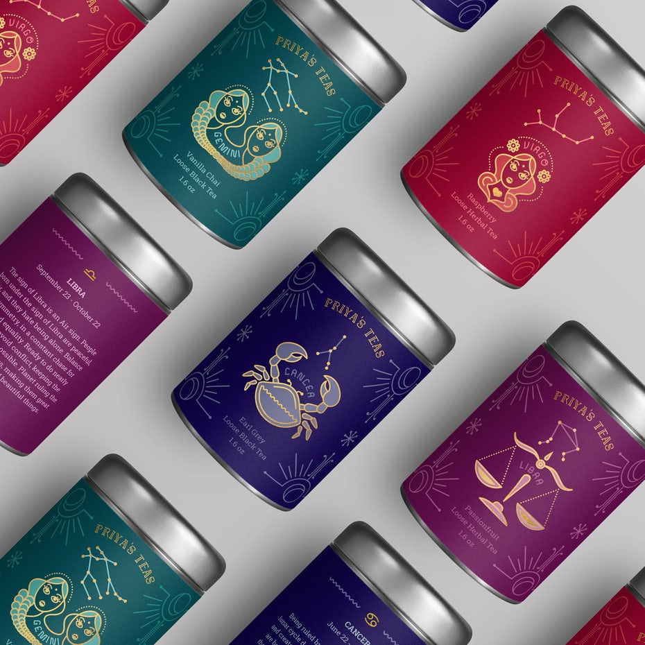 collection of tea canisters in jewel-toned packaging with different zodiac signs on them