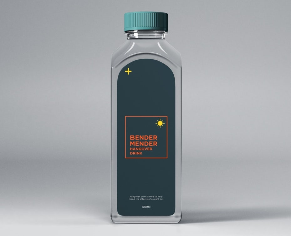 dark blue and orange product label on a bottle