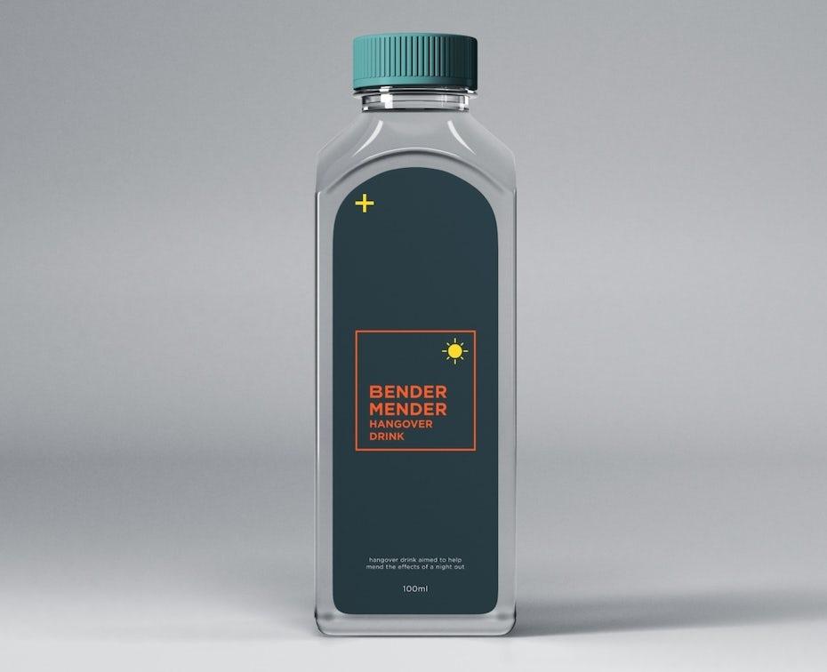 Starkes product branding: dunkelblaues und orange Produktetikett auf einer Flasche