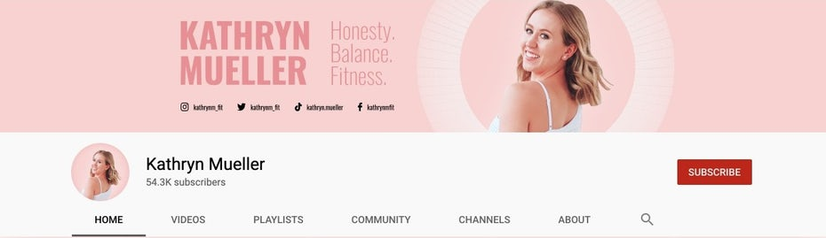 A pink social media cover image and profile picture design for a fitness brand