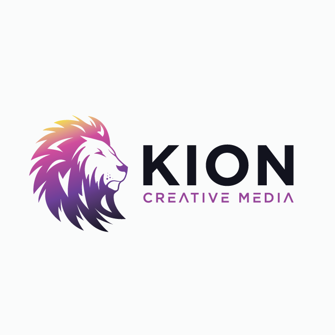 yellow, pink and purple gradient image of a lion
