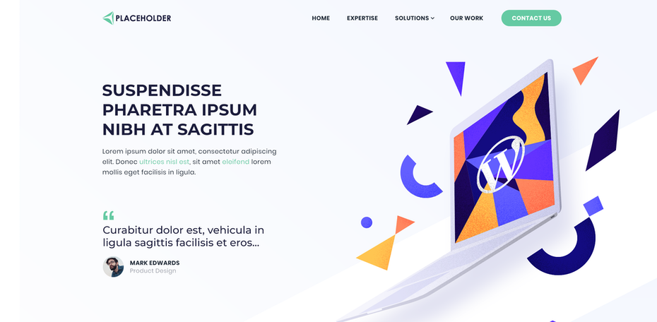 Web page design with geometric colors