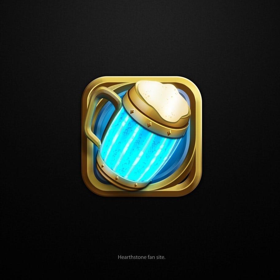 3d logo with mug design for Hearthstone fansite