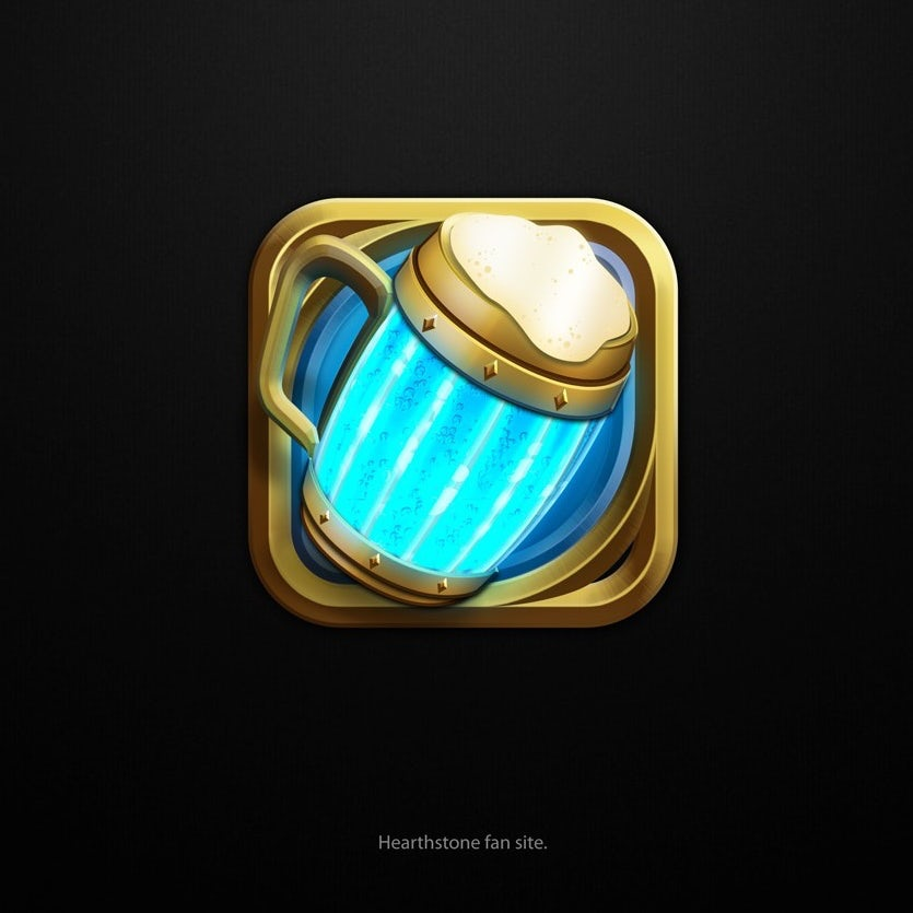 3d logo with mug design for Hearthstone fansite