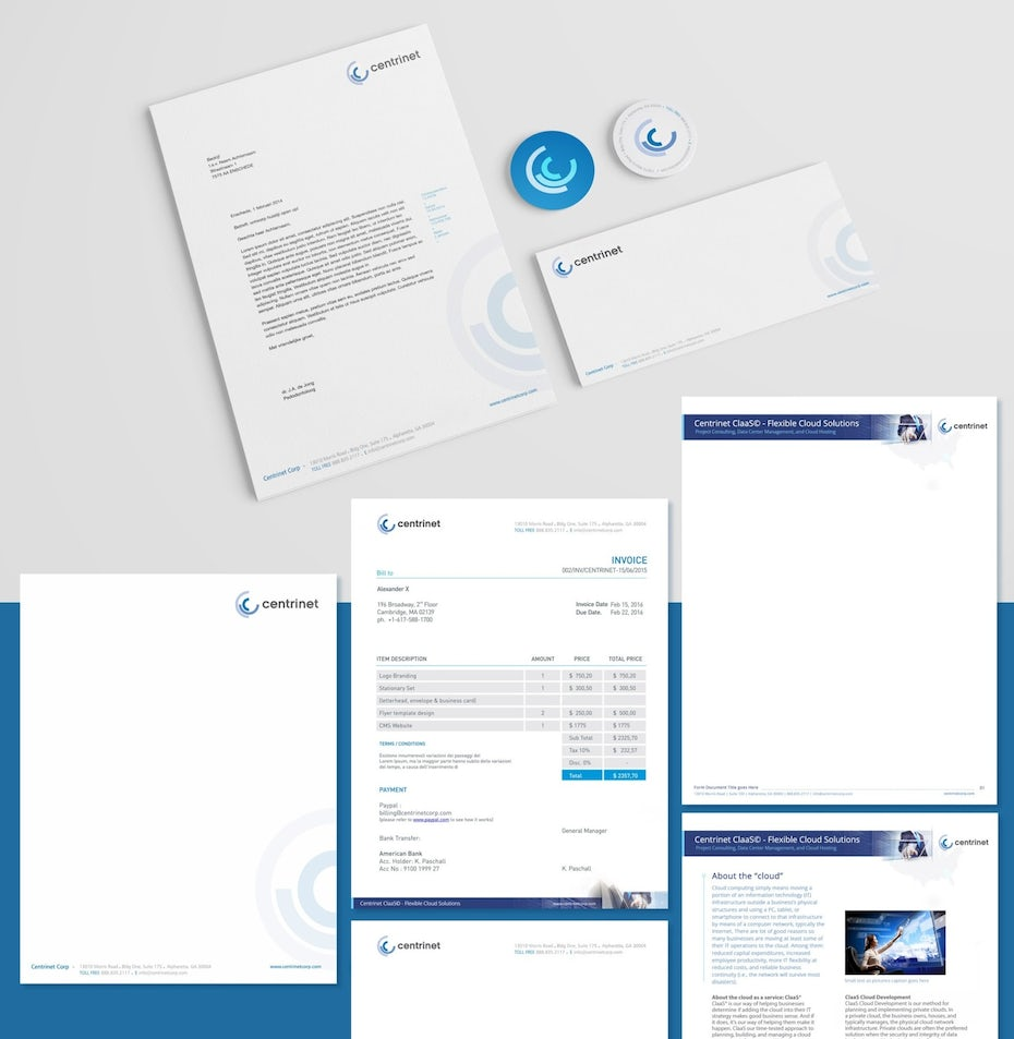 white and blue invoice