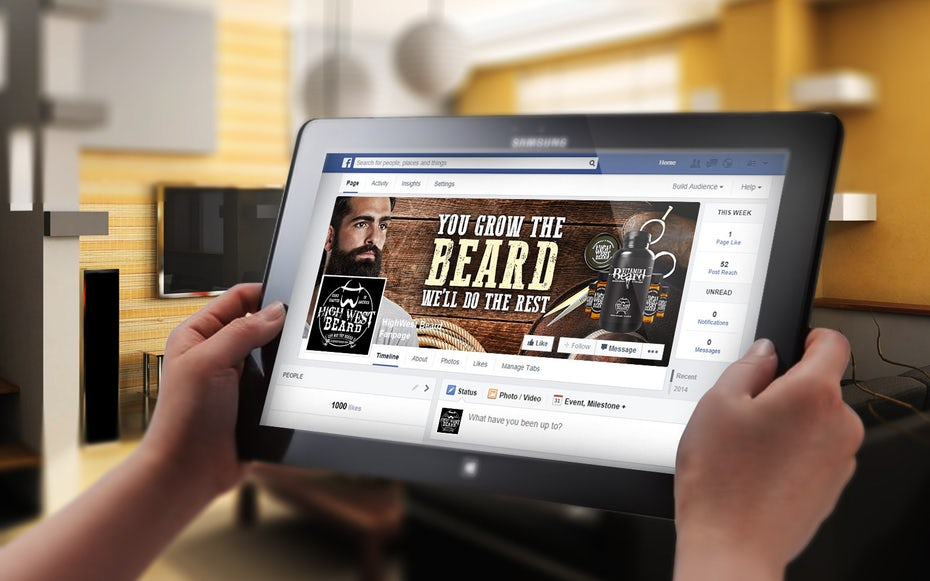 Facebook cover page showing a man with a beard, scissors and the beard care product