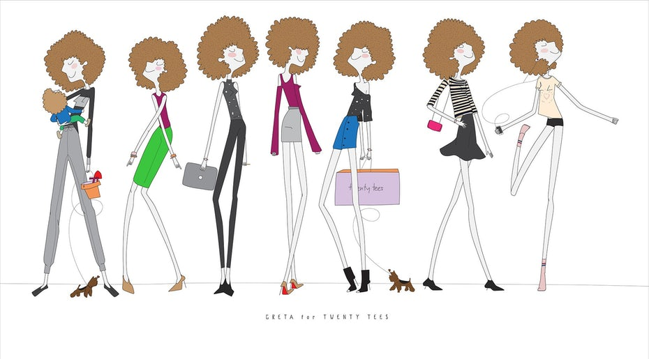 Character illustrations showing a cartoon woman in different outfits