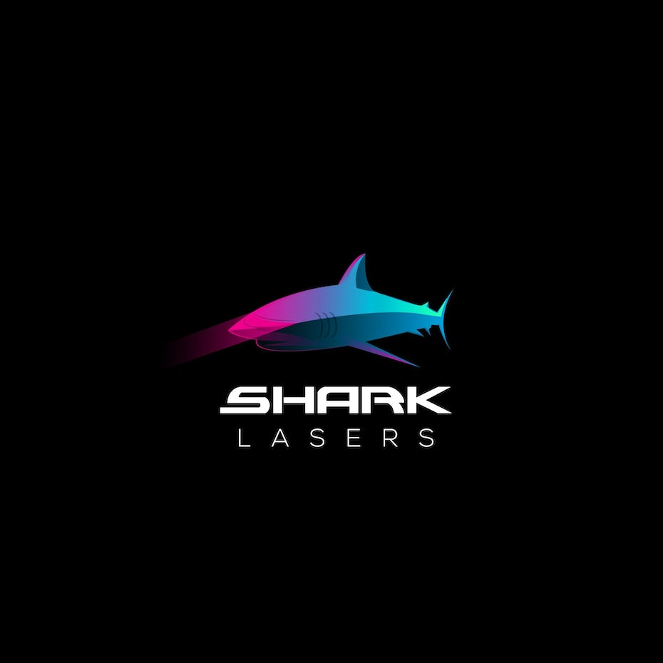 semi-flat image of a shark in a pink and blue gradient