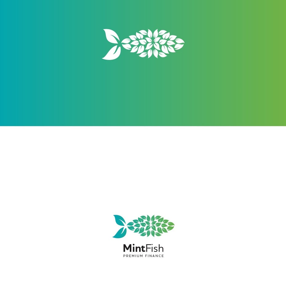 MintFish logo comprised of multiple white flower shapes on a green and yellow gradient