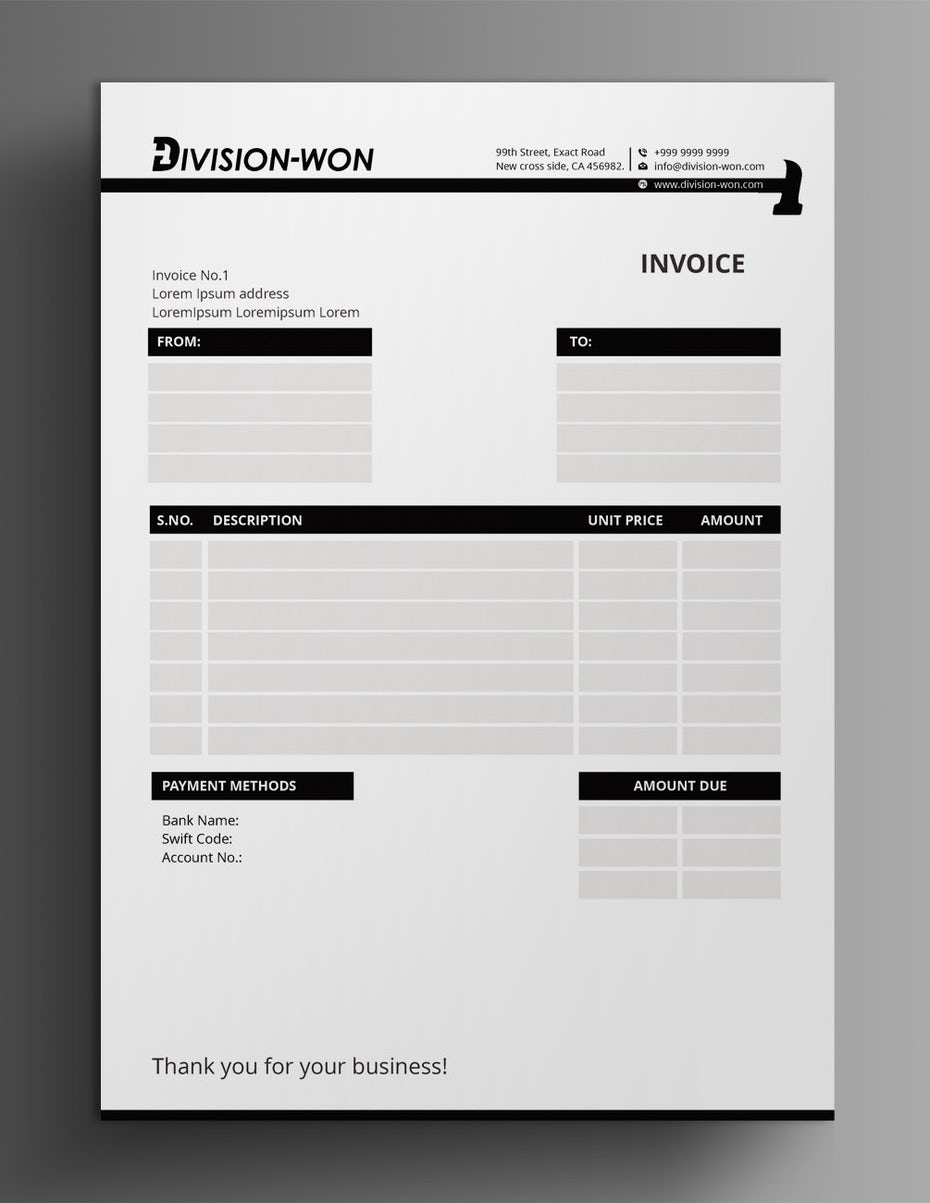 black and white invoice design with a hammer worked into the page break