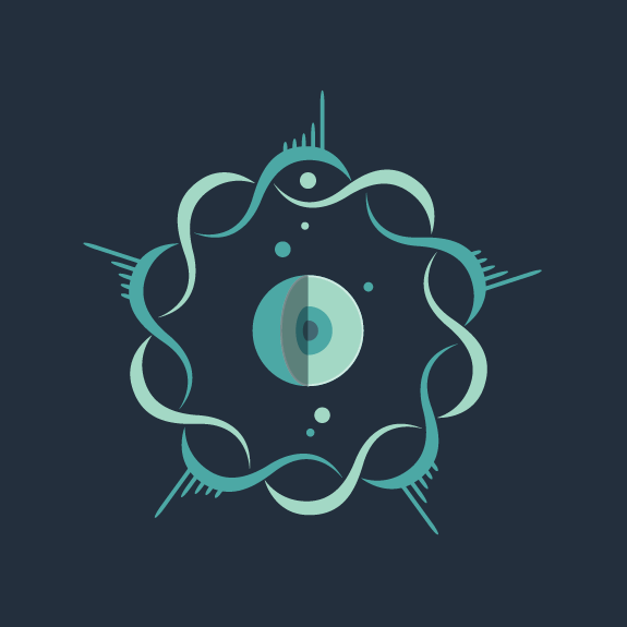 Blue logo design of an abstract atom