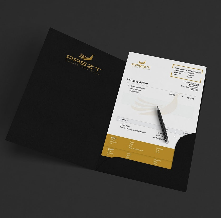 white and gold invoice