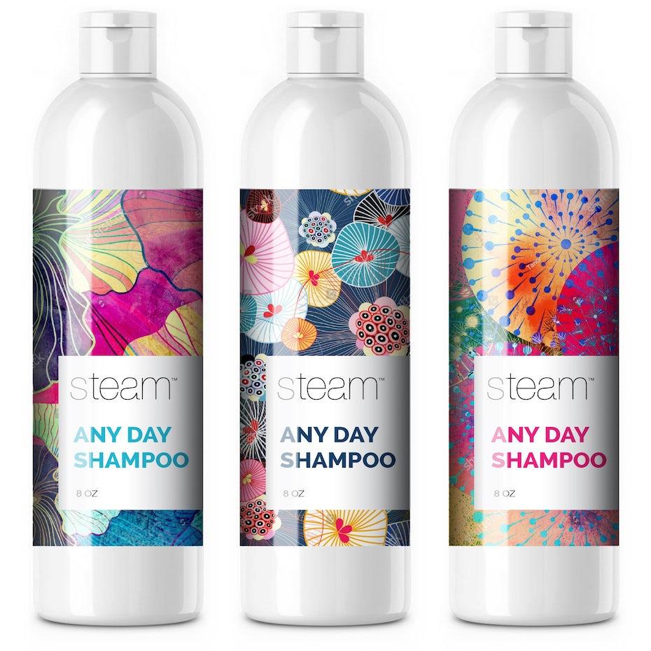 Product Branding: weiße Shampooflaschen mit bunten Etiketten