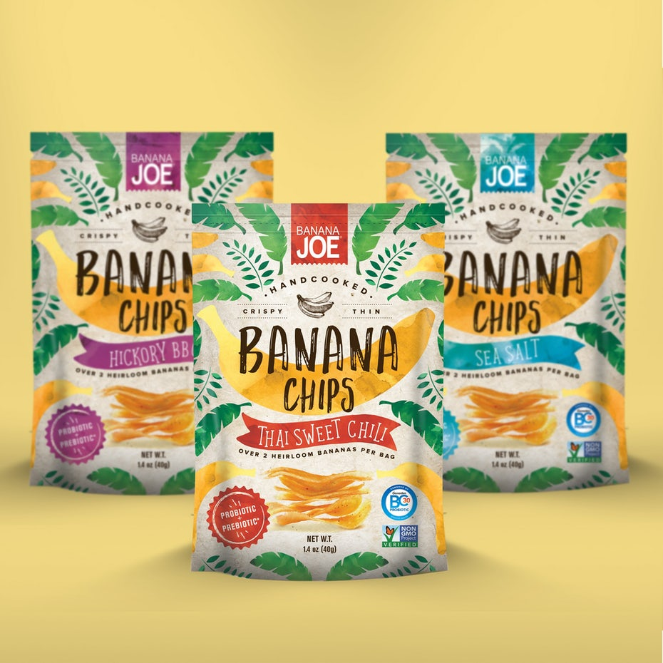 Packaging pouch design for banana chips with illustrated elements