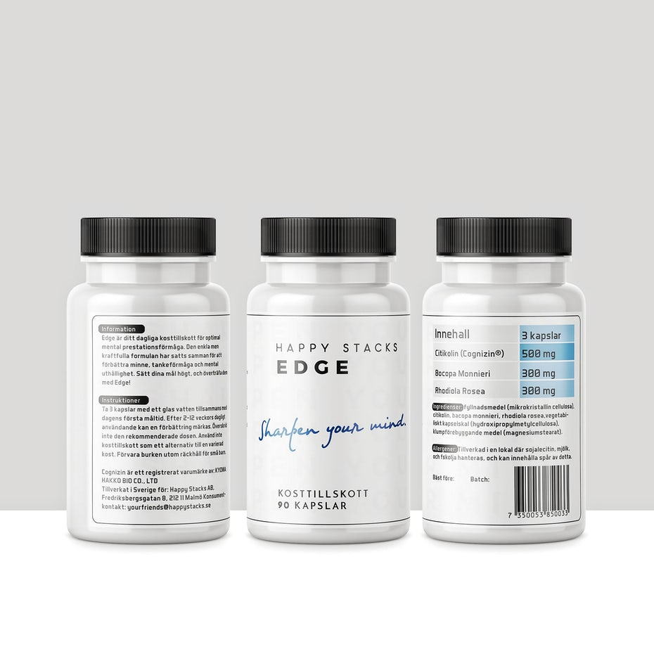 all-white product label with black and blue text