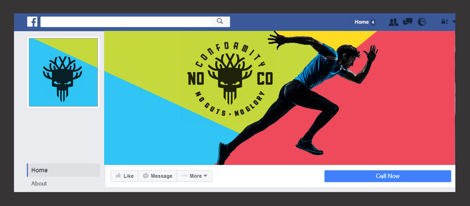 A colorful social media cover image and profile picture design for a fitness brand