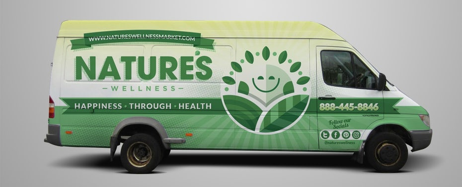 green van wrap showing a sun logo and information about a product