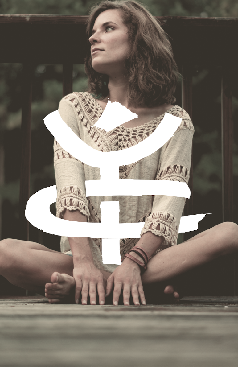 Yoga logo design incorporated into a photo