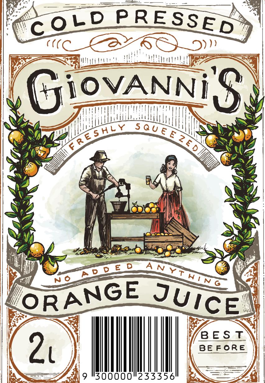 intricate vintage-inspired watercolor orange juice label