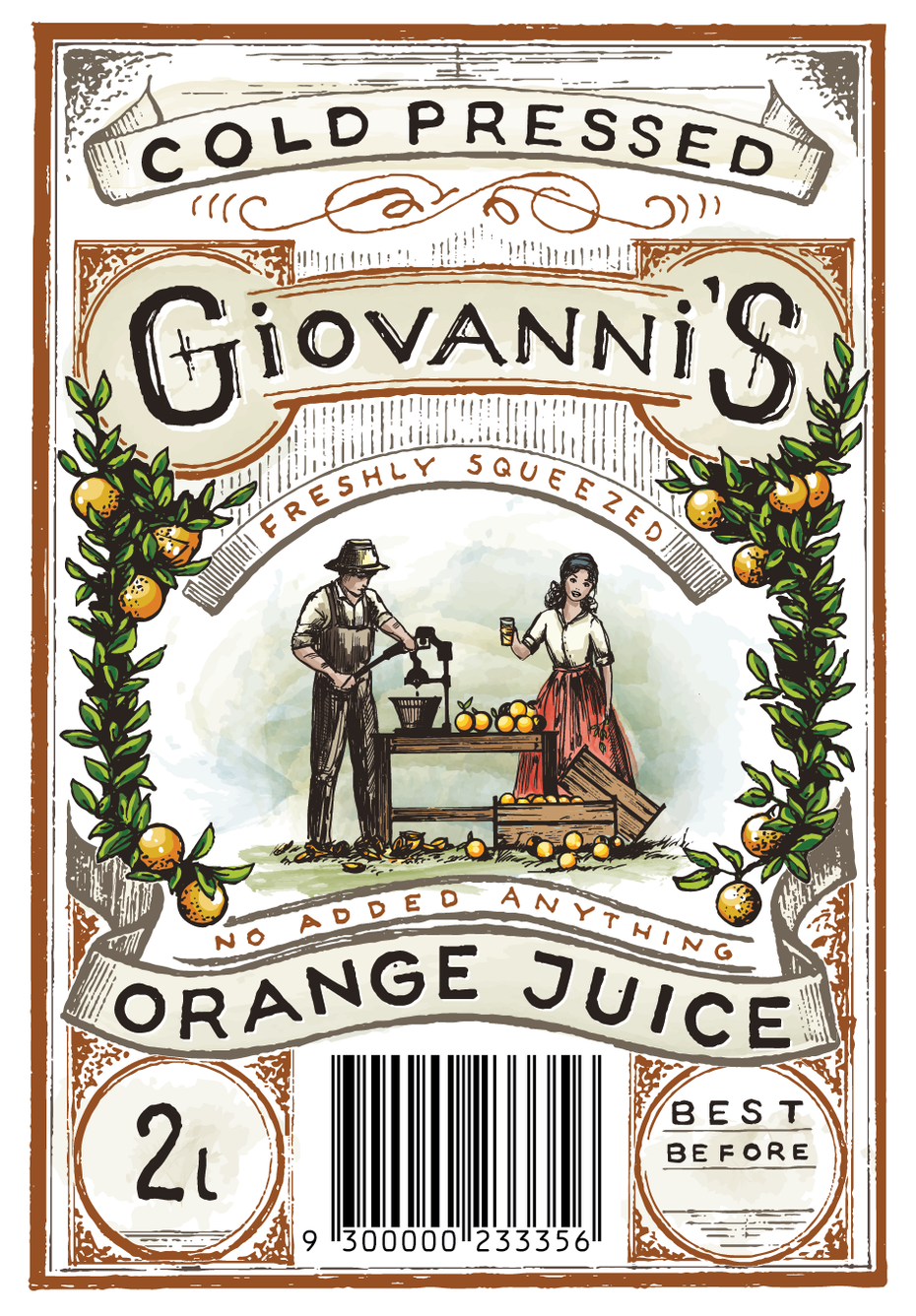 intricate vintage-inspired watercolor orange juice label