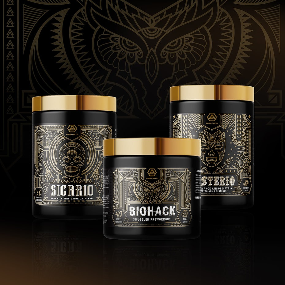 black and gold packaging with complex geometric line imagery