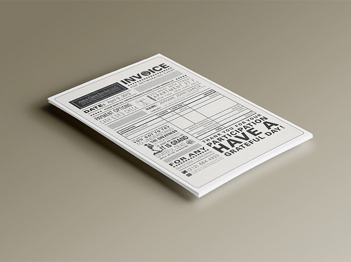 black and white invoice arranged to look like a newspaper