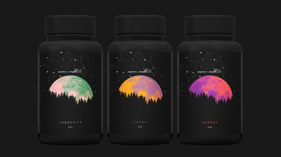 black packaging design with moon in surreal colors