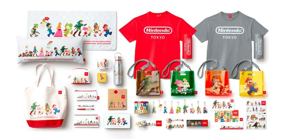 collection of colorful Nintendo products