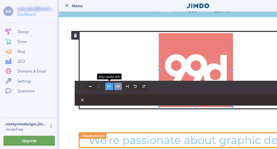 jimdo website builder interface screenshot