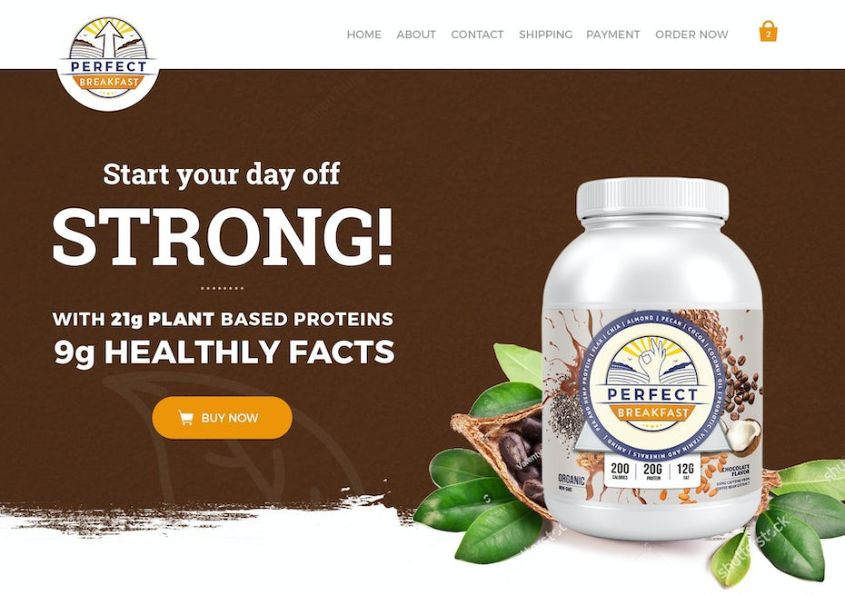 supplement website design showing a breakfast powder supplement