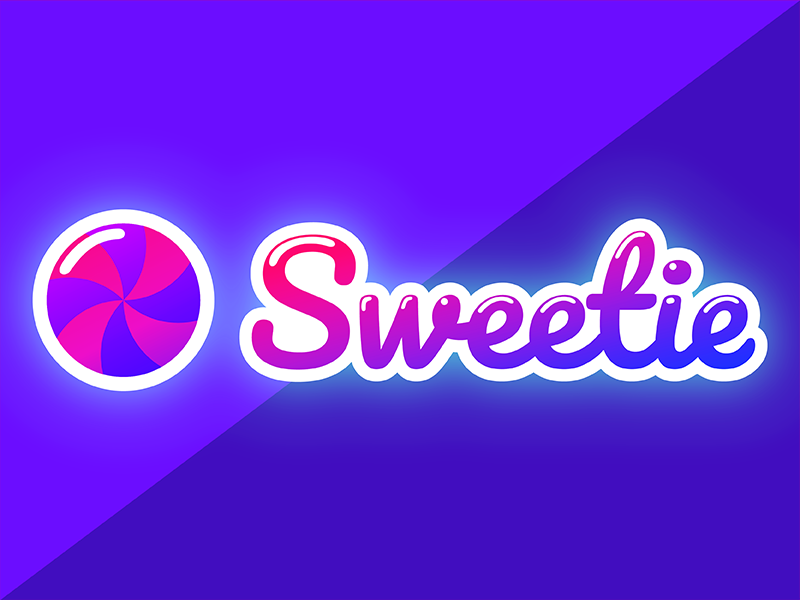 wordmark candy logo in a pink and purple gradient