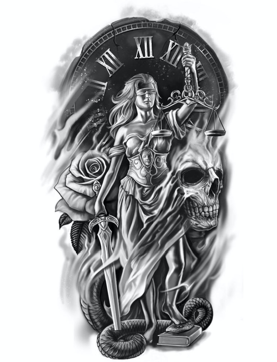 lady justice tattoo design