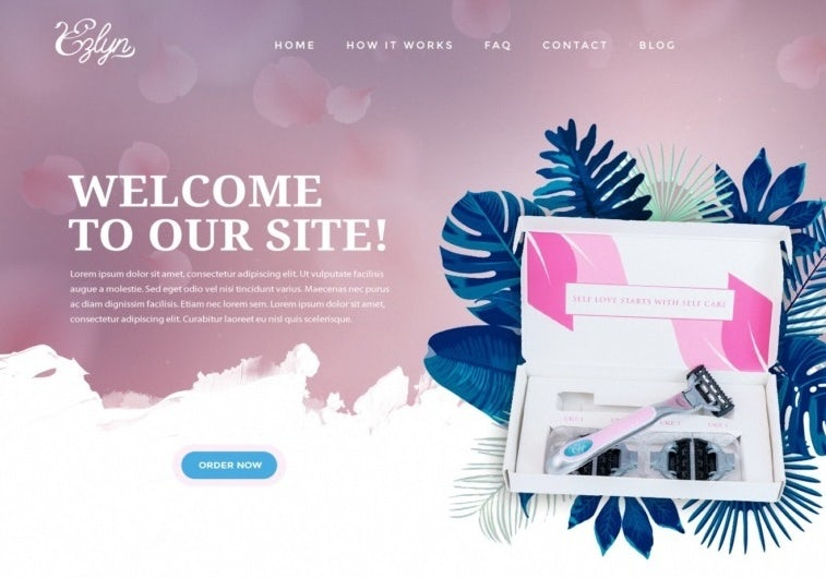 Women's razor website background with graphic elements