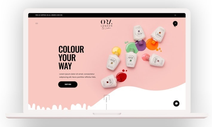fun, modern and pastel web design for nail polish brand