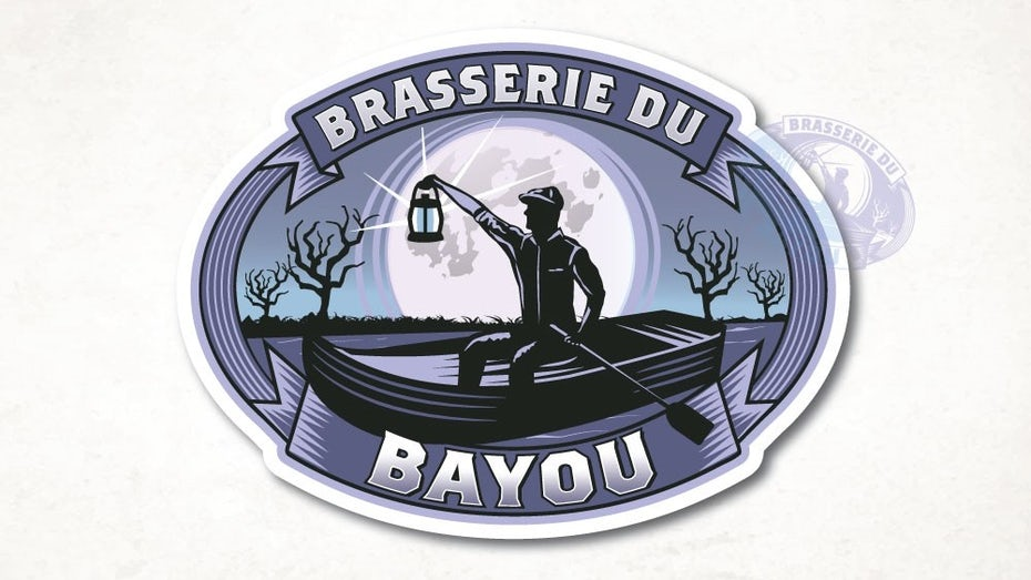 oval-shaped business logo showing a scene of a man in a rowboat under the moon, holding a lantern