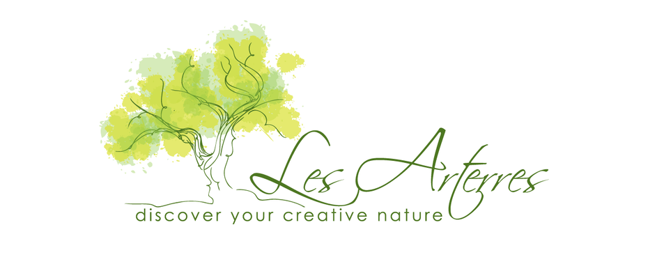 business logo showing a line-drawn tree trunk with watercolor leaves